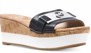 Michael Kors Warren Platform black Open Toe silver Logo Sandal Size 9.5