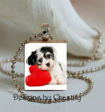 Havanese Heart Necklace Charm Photo Art Image Dog Puppy Animal Valentine's Day