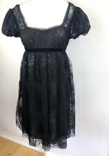 Marchesa Notte Lace Layered Cocktail Baby Doll Party Dress 14 NWT Black Puff Slv