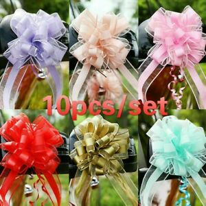 10 X Bow Pull Flower Ribbons Wedding Car Birthday Party Decor Gift Packing