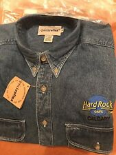 Authentic vintage Hard Rock Cafe Calgary denim Long Sleeve Jean shirt M NWT