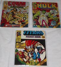 3 British Ed. DIGEST COMICS POCKET BOOKS HULK #1 CONAN #1 TITANS #1