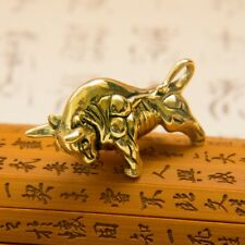 Brass Solid Retro Ox Bull Pendant Key Ring Keychain Necklace Mens strong display