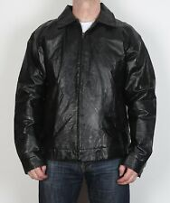 """Leather Jacket Coat Large 42"""" 44"""" Black 80's 1980's (6M4T)"""
