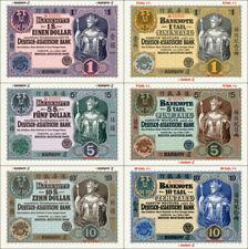 R0001 - Deutsch Asiatische Bank 1, 5 u. 10 Dollar / Tael 1907, 1914 REPRODUKTION