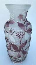 Jugendstil Glas Vase Beeren Floraldekor Arsall? Weißwasser Gallé Ära Germany ~20