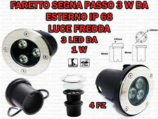 4 FARETTI INCASSO LED 3W ESTERNO/INTERNO SEGNA PASSO CALPESTABILE IP68 GIARDINO