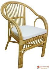 Poltrona sedia Selangor in vimini bambù rattan e giunco naturale con cuscino per