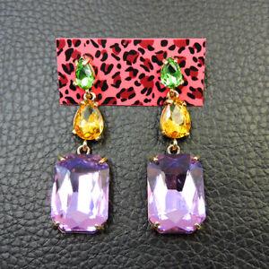 Hot New Fashion Betsey Johnson Rare Alloy Rhinestone Purple Drop Earring