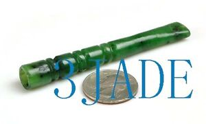 Hand Carved Natural Green  Nephrite Jade Bamboo Cigarette Holder