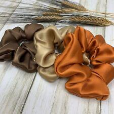 100% Pure Silk Hair Scrunchies Handmade Pack-3 Scrunchie Ponytail Holders