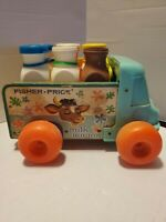 Vintage Fisher Price Milk Wagon #131 pull toy with crate & 6 bottles 1960s