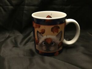 Vintage Lang and Wise Cross-eyed Cat Mug Fall Leaves Erin Martin 1996 L.Herrero