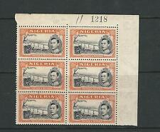NIGERIA 1938 KGVI NIGER at JEBBA (SG 59 perf 13X11.5 5sh) MNH sheet number blk/6
