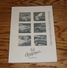 Original 1998 Honda Certified Used Cars Sales Brochure 98