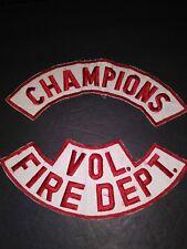 LOT OF 2 FIRE DEPT PATCH ROCKERS BIKER VEST HOUSTON CHAMPIONS
