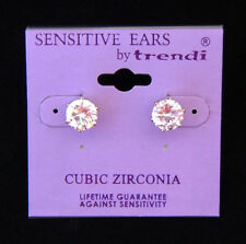 Silver Cubic Zirconia 8 mm Stud Earring  FOR SENSITIVE EARS!!!