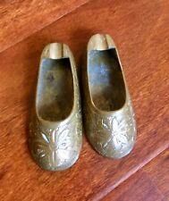 Vintage Pair Sarna Solid Brass Gold Slippers Incense Burners Made India Folk Art