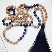8mm Picture Jasper Lapis Lazuli 108 Beads Tassel Necklace Spirituality Chakra