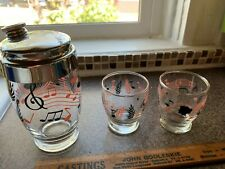 Shaker Bottle With 2 Glasses 1950'S You And Me Wedding Set Vintage