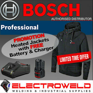 BOSCH 12V Heated Hoodie *FREE Battery & Charger, USB Hooded Jacket GHH 12+18V XA