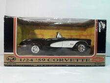 Black 1959 Chevrolet Corvette Convertible 1/24 Scale Model Diecast by Motormax