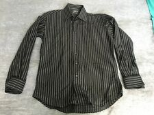 Mens INDUSTRIE Button Front Black White Striped Long Sleeve Shirt Cuffs L 41-42