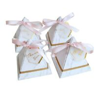 50x Gift Box with THANKS Card & Ribbon European Marble Candy Box Wedding Party