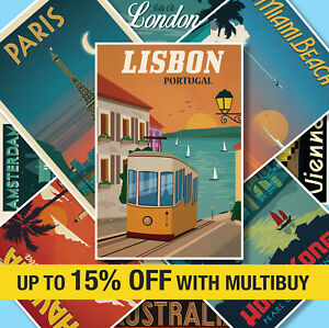 VINTAGE TRAVEL POSTERS Classic Retro Quality Prints Art Tourism Holiday A4 A3 A2