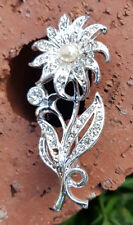 Vintage Bridal Floral Brooch Jewelry Opal Stone White Crystals & Beads
