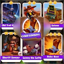 Coin Master Cards *** 6 Cards of Cyber Cowboys *** Fast Delivery