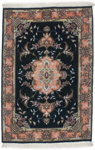 Coral Vase Design Small 2X3 Hand-Knotted Classic Floral Oriental Rug Wool Carpet