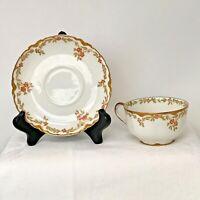 Antique Haviland France Limoges Porcelain Teacup Cup Saucer Gold Trim Red Flower