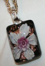 Lovely Gold Speckled White & Violet Flower Lampwork Glass Pendant Necklace
