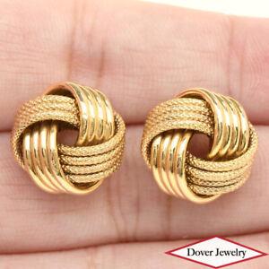 Estate 14K Gold Textured Knot Stud Earrings NR