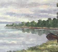 Ölgemälde Landschaft mit Kahn am Bodensee signiert A.Joos