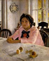 Oil painting Valentin Alexandrovich Serov - Girl with peaches - V.S.Mamontova