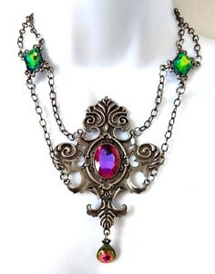 Ladies HUGE CRYSTAL CROSS Necklace Choker Statement Pendant GOTHIC STEAMPUNK