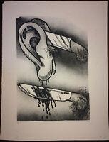 1971 Cuba POP ART ~ Original by UMBERTO PENA Lithograph #3/8 ~ Rare Cuban Fine