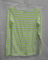 Women's Long Sleeve T-Shirt Top Size 10 Bonds Lime Green & White Stripe Stretch