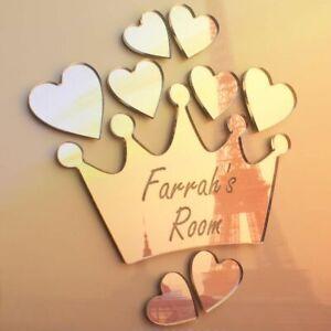 Princess Crown Heart Mirror Set Personalised Door Name Plaque Boy Girls Bed Room