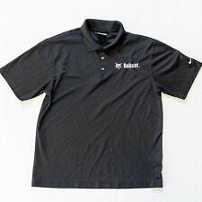 Nike Golf Polo Shirt Men Sz Medium Dri-Fit Bobcat Black Tshirt Short Sleeve