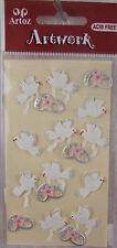 Anneaux de mariage oiseaux et Set ARTOZ Carte Embellissements Hand Made stickers