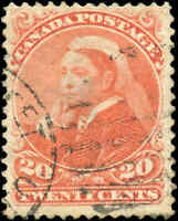 1893 Used Canada 20c F Scott #46 Small Queen Stamp