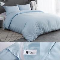 3PCS Quilt Duvet Cover Set Queen w/ Duvet Cover Pillow Cases Envelope Light Blue