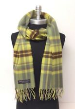 New 100% CASHMERE SCARF SCOTLAND PLAID Check Lemon yellow Brown green SOFT Wool