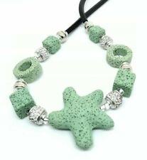 APARTE Halskette Lava lind grün Lavakette Würfel Kette Stern Strass Perlen 48cm