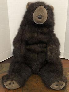 "Vintage 1983 Carousel By Guy Plush Large Black Bear Teddy Fuzzy 23"" Sitting"