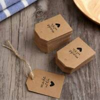 100pcs Kraft Paper Vintage Made With Love Gift Cards Blank Label Hang Tags