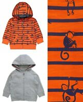 MOTHERCARE Boys Hoodie Orange Grey Monkey Zipped Cardigan Hooded Baby Top BNWT